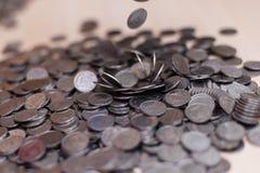 Ukrainische Silbermünzen Pyramide des Geldes Stockfoto