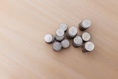 Ukrainische Silbermünzen Pyramide des Geldes Stockfotografie