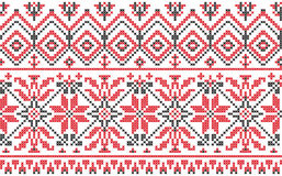 Ukrainische Verzierung - Kreuzheftung auf einem Weiß Lizenzfreie Stockfotos
