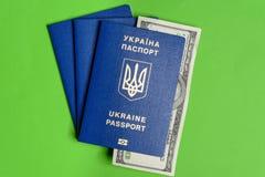Ukrainischer biometrischer Pass mit hundert Dollarschein auf einem grünen Hintergrund Stockbilder