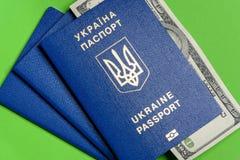 Ukrainischer biometrischer Pass mit hundert Dollarschein auf einem grünen Hintergrund Stockfotos