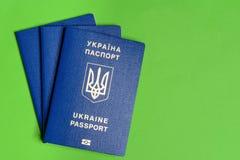 Ukrainischer biometrischer Pass mit hundert Dollarschein auf einem grünen Hintergrund Stockfoto
