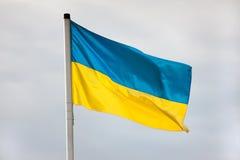Ukrainisches fahnenschwenkendes gegen den Himmel Lizenzfreies Stockbild