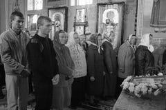 Ukrainisches Gemeindemitglied der orthodoxen Kirche Stockbilder