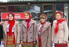 Ukrainisches nationales Ensemble, das am Weihnachten in Bukovel singt Lizenzfreie Stockfotos