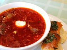 Ukrainisches traditionelles Abendessen Borscht mit Fleisch und Knoblauch pampushkami lizenzfreies stockfoto
