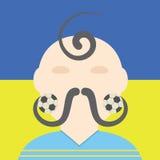 Ukrainsk begreppsmässig illustration för fotbollspelare Kosack med fotbollmustascher Royaltyfria Foton
