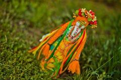 Ukrainsk docka-motanka eller trasdocka välfyllda toys Handgjord texti Arkivbilder