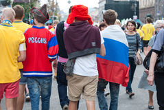 Ukrainsk fanzon under UEFA-EUROET 2012 Royaltyfria Bilder