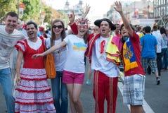 Ukrainsk fanzon under UEFA-EUROET 2012 Fotografering för Bildbyråer