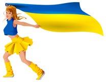 Ukrainsk flagga för innehav för flickasportfan Fotbollmålseger