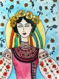 Ukrainsk flicka i nationell dräkt royaltyfri illustrationer