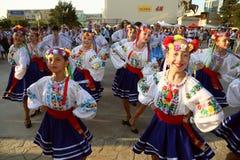 Ukrainsk grupp av dansare i traditionella dräkter Royaltyfri Foto