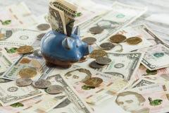 Ukrainsk hryvnia, amerikanska dollar och en spargris Arkivbild