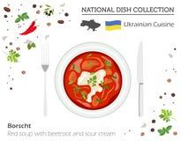 Ukrainsk kokkonst Europeisk nationell maträttsamling Borscht är royaltyfri illustrationer