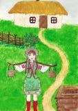 Ukrainsk kvinna med ett ok stock illustrationer