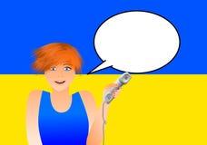 Ukrainsk kvinna med telefonen royaltyfri illustrationer