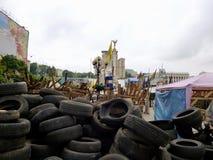 Ukrainsk revolution - Maydan, barrikader i Kyiv Arkivbilder