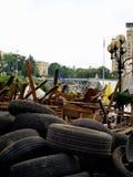 Ukrainsk revolution - Maydan, barrikader i Kyiv Royaltyfria Foton