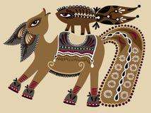Ukrainsk stam- etnisk målning, ovanlig häst, Arkivfoto