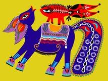 Ukrainsk stam- etnisk målning, ovanlig häst, Royaltyfri Bild