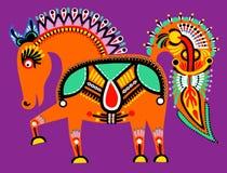 Ukrainsk stam- etnisk målning, ovanlig häst, Royaltyfri Fotografi