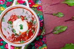 Ukrainsk traditionell borsch Rysk vegetarisk röd soppa i den vita bunken på röd träbakgrund Top beskådar Borscht borshchintellige royaltyfria foton