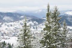 Ukrainska Carpathian berg i snö. Royaltyfri Fotografi