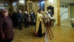 Ukrainska ortodoxa kristen firar jul Arkivbilder