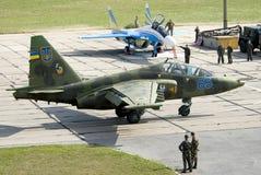 Ukrainskt flygvapen Su-25UB royaltyfria bilder