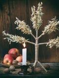 Ukrainskt julbegrepp för hälsningkort Sammansättning av xmas-symboldidukh, brännande stearinljus, äpplen, valnötter på träbackgr Royaltyfri Fotografi