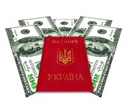Ukrainskt pass och några USA dollar Royaltyfri Fotografi