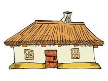 Ukrainskt traditionellt hus Arkivfoto