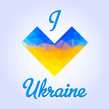 Ukranian heart patriotic illustration with love text Royalty Free Stock Photography