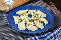 Close up view on plate with tasty homemade vareniki with parsley. royalty free stock images