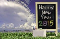 Ukulélé avec le ciel bleu et le texte du tableau noir 2015 sur l'herbe Photographie stock libre de droits