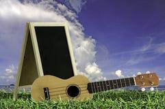 Ukulélé avec le ciel bleu et le texte du tableau noir 2015 sur l'herbe Images stock