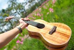 Ukulélé traditionnelle hawaïenne d'instrument avec la main Photos stock