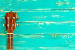 Ukulele Background / Ukulele / Ukulele on Blue Wooden Background Royalty Free Stock Photos