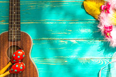 Ukulele Background / Ukulele / Ukulele with Hawaii Style Background Royalty Free Stock Photos