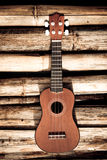 Ukulele on bamboo background Royalty Free Stock Image