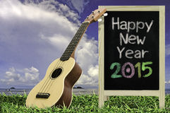 Ukulele with blue sky and Blackboard 2015 text on the grass. Royalty Free Stock Photos