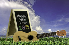 Ukulele with blue sky and Blackboard 2015 text on the grass. Royalty Free Stock Images