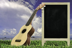Ukulele with blue sky and Blank Blackboard on green grass. Stock Image