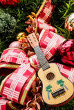 Ukulele on Christmas tree Stock Images