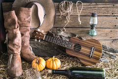 Ukulele with cowboy hat in barn studio Stock Photos