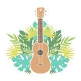 Ukulele i tropikalni liście ilustracji