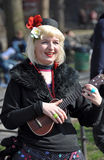 Ukulele Lady Busker in New York. Spring - 09 April 2008, Greenwich Village, New York Stock Photos
