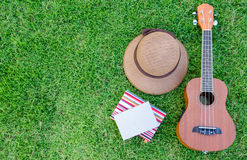 Ukulele lying on meadow with lovely hat and notebook. Stock Photo