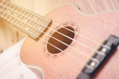Ukulele and musical paper notes Royalty Free Stock Photo